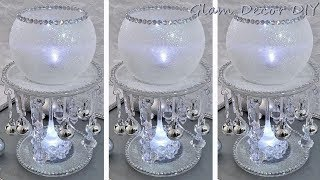 Dollar Tree DIY Glam Icy Candle Holder Christmas Centerpiece