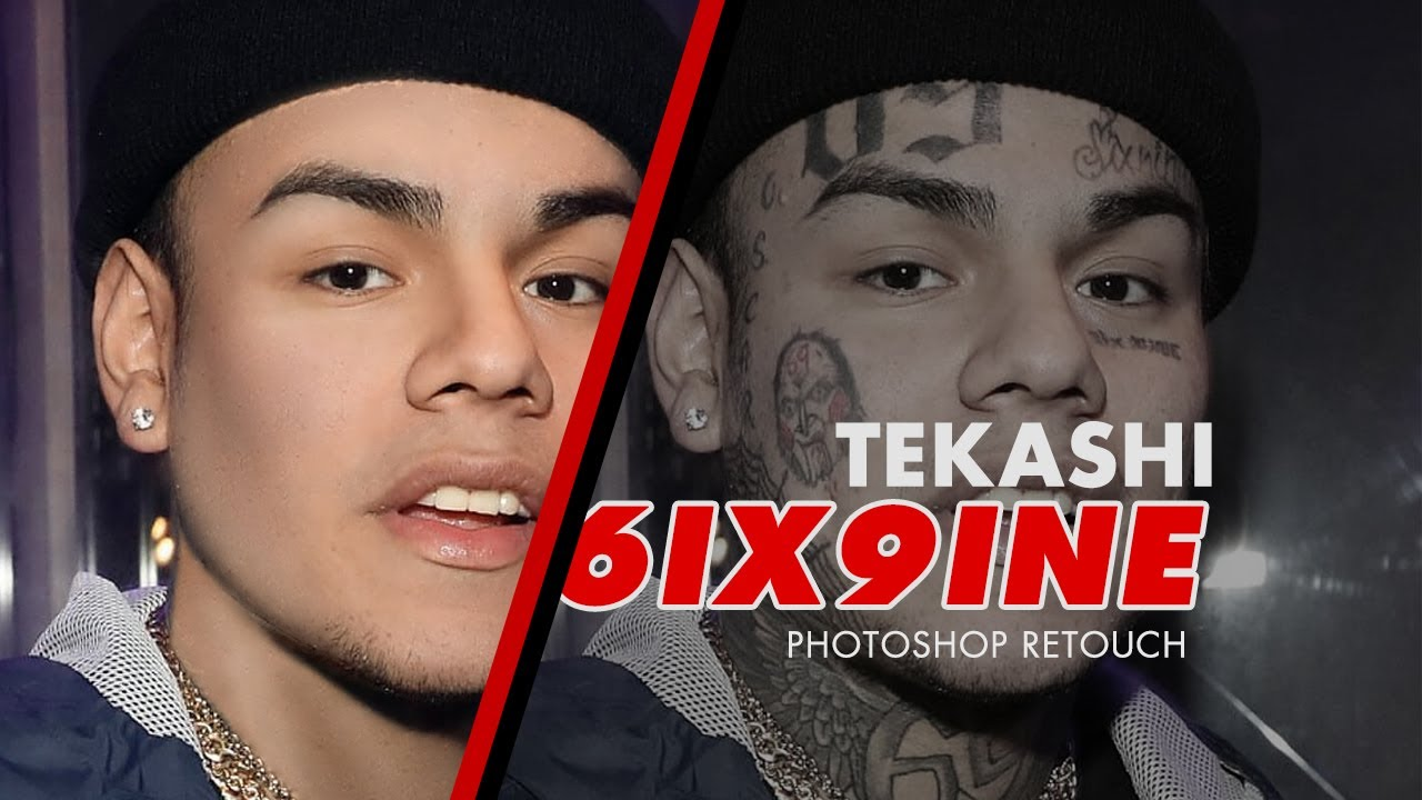 Tekashi 6ix9ine Without Tattoos Photoshop Retouch