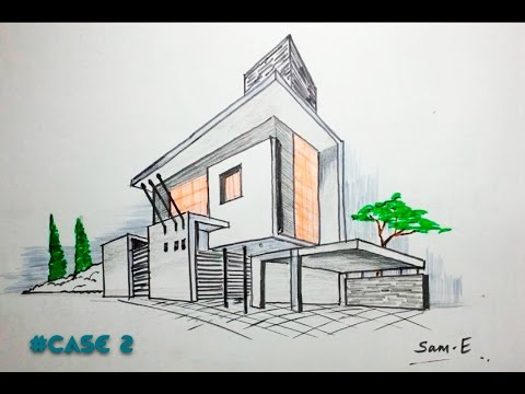 How to freehand sketch a cube in isometric view doovi for Modern house 2 point perspective