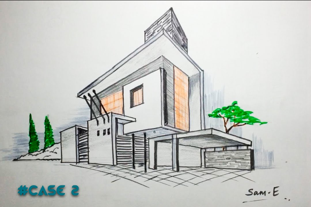 2 point perspective house case2 architectural freehand Drawing modern houses