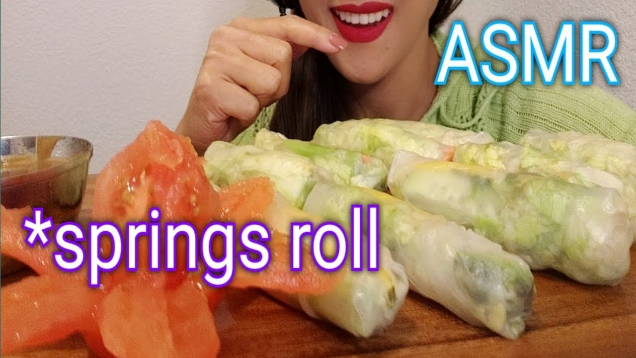 Asmr Eating Relaxing Sounds Springs Roll Crunchy Sounds