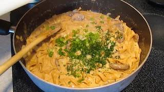 Roast Beef Stroganoff - Onions, Portobello Mushrooms & Egg Noodles - Poormansgourmet