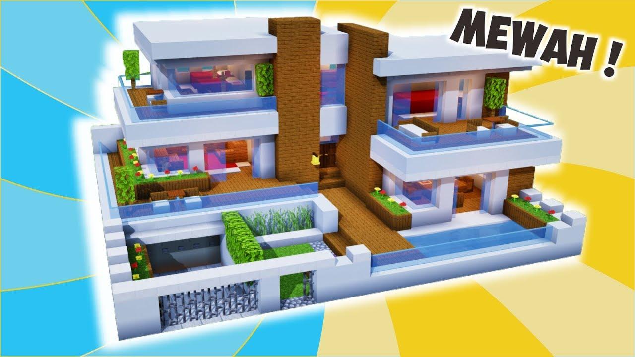 Cara Membuat Rumah Modern Mewah Full Interior Minecraft Modern Pt 14 Youtube