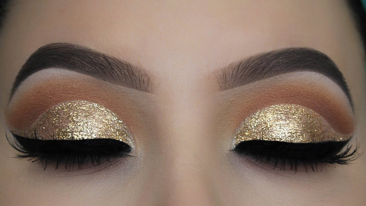 Crystal Gold Glitter Eye Makeup Tutorial Youtube