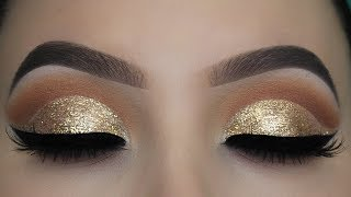 Crystal Gold Glitter Eye Makeup Tutorial