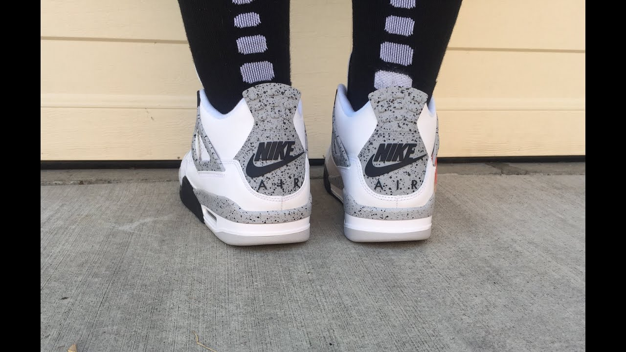 450c6107fe79 2016 Retro Nike Air Jordan White Cement 4 s IV Review and On Feet Shot