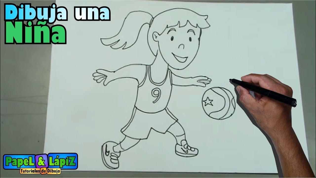 Cómo dibujar paso a paso una niña jugando baloncesto - YouTube fac3245cd4a5