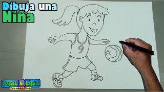 Cómo dibujar paso a paso una niña jugando baloncesto