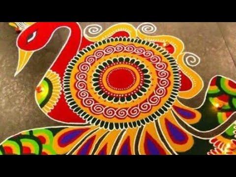diwali-#peacock-#rangoli-|-very-innovative-rangoli-design.