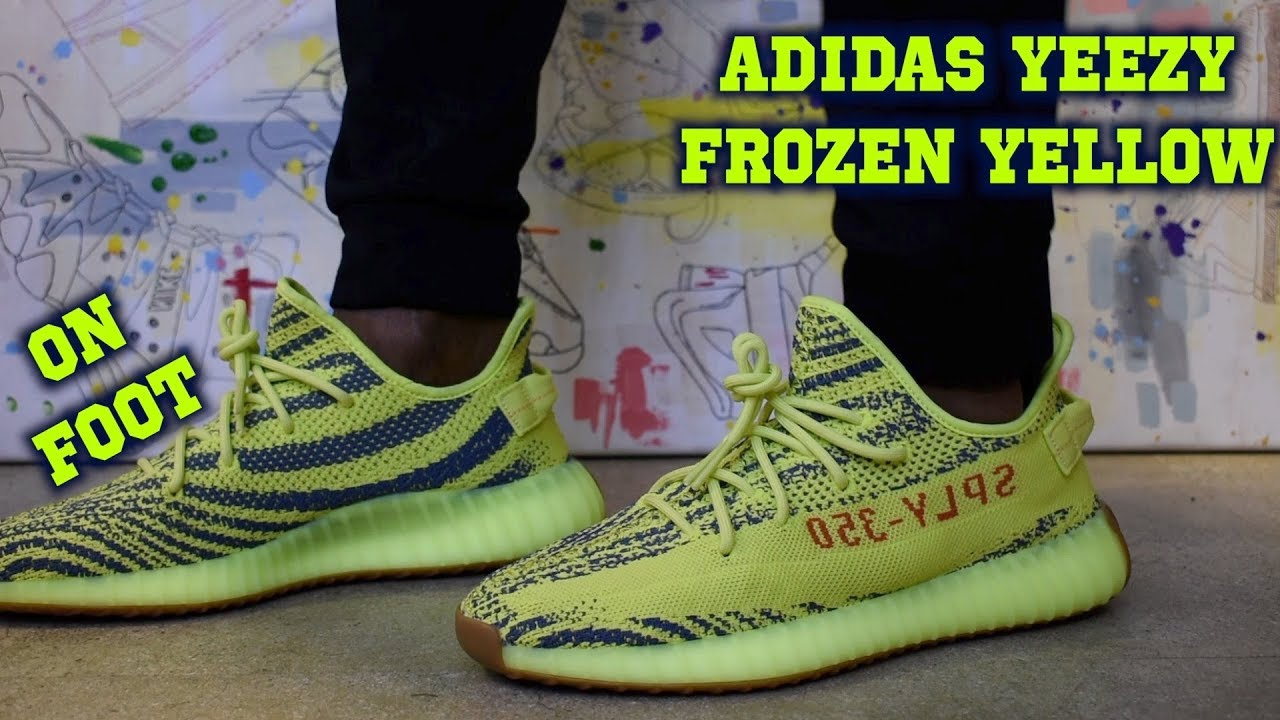 612e62fb7 Adidas Yeezy Boost 350 V2 Semi Frozen Yellow ON FOOT - YouTube