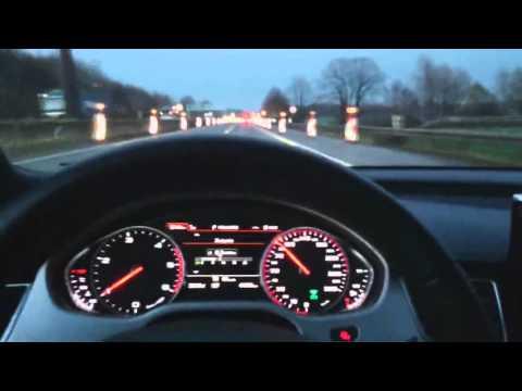 7,7l/100km Audi A8L 4.2 TDI 2014 POV efficiency modus drive Onboard