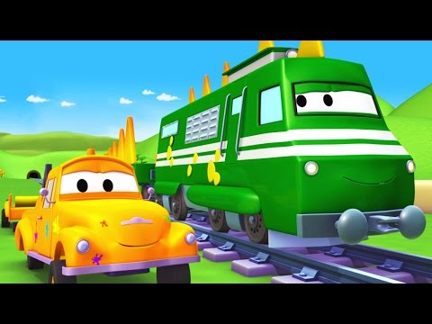 Tom The Tow Truck's Paint Shop: Troy is a Trainosaur | Truck cartoons for kids