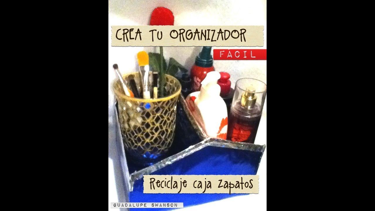 Crea organizador con caja de zapatos y papel met lico - Manualidades con cajas de zapatos ...