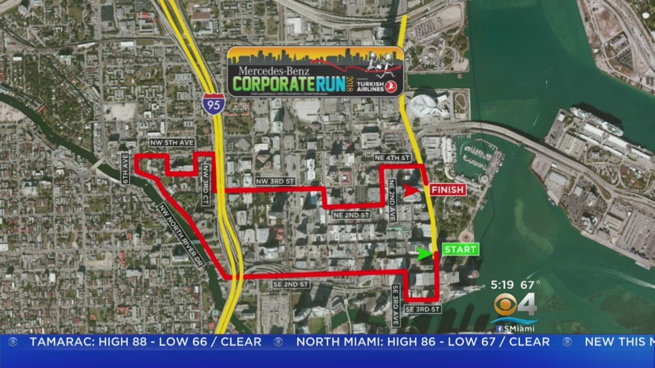 Mercedes benz corporate run takes over downtown miami for Mercedes benz corporate number