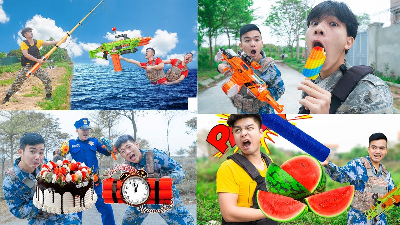 Download Battle Nerf War TOP 10 Go Fishing Nerf & COMPETITION Nerf Guns Fight Two Man FISHING BATTLE NERF