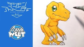 How to draw Agumon アグモン [Digimon Tri] Drawing Tutorial