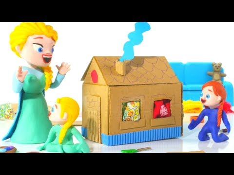 FROZEN ELSA & ANNA BUILD A TOY HOUSE 鉂� Spiderman, Hulk & Frozen Play Doh Cartoons For Kids