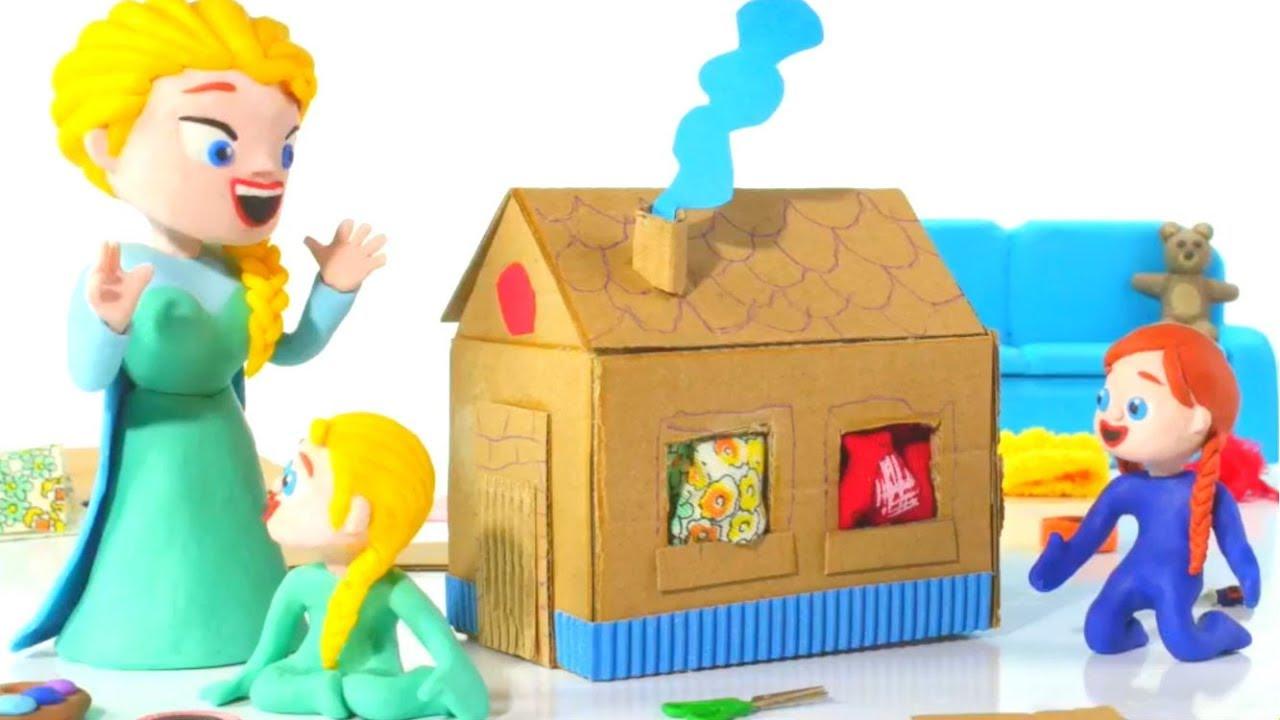 FROZEN ELSA & ANNA BUILD A TOY HOUSE ❤ Spiderman, Hulk & Frozen Play Doh Cartoons For Kids