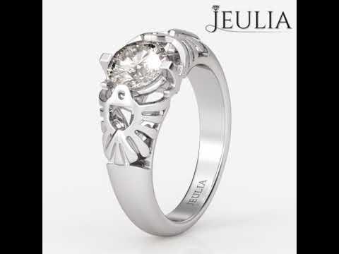 Jeulia Fish Round Cut Created White Sapphire Engagement Ring- Jeulia.com