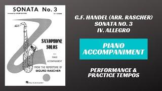 G.F. Handel (arr. Rascher) – Sonata No. 3, mvt. IV (Piano Accompaniment)