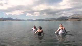 Taking a dip in Lake Tekapo