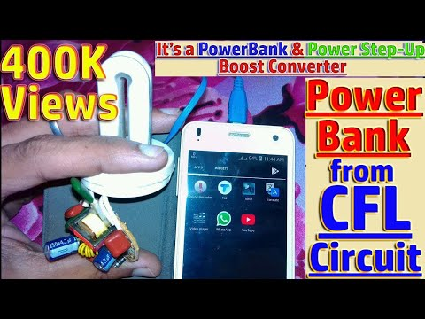 How to make Powerbank from cfl Circuit & Step-up Boost Converter