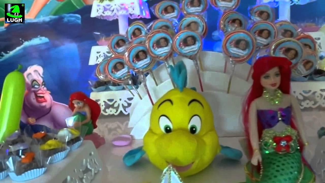 Pequena Sereia Decoraç u00e3o para festa de aniversário infantil de meninas YouTube -> Decoração De Mesa Para Festa Da Sereia