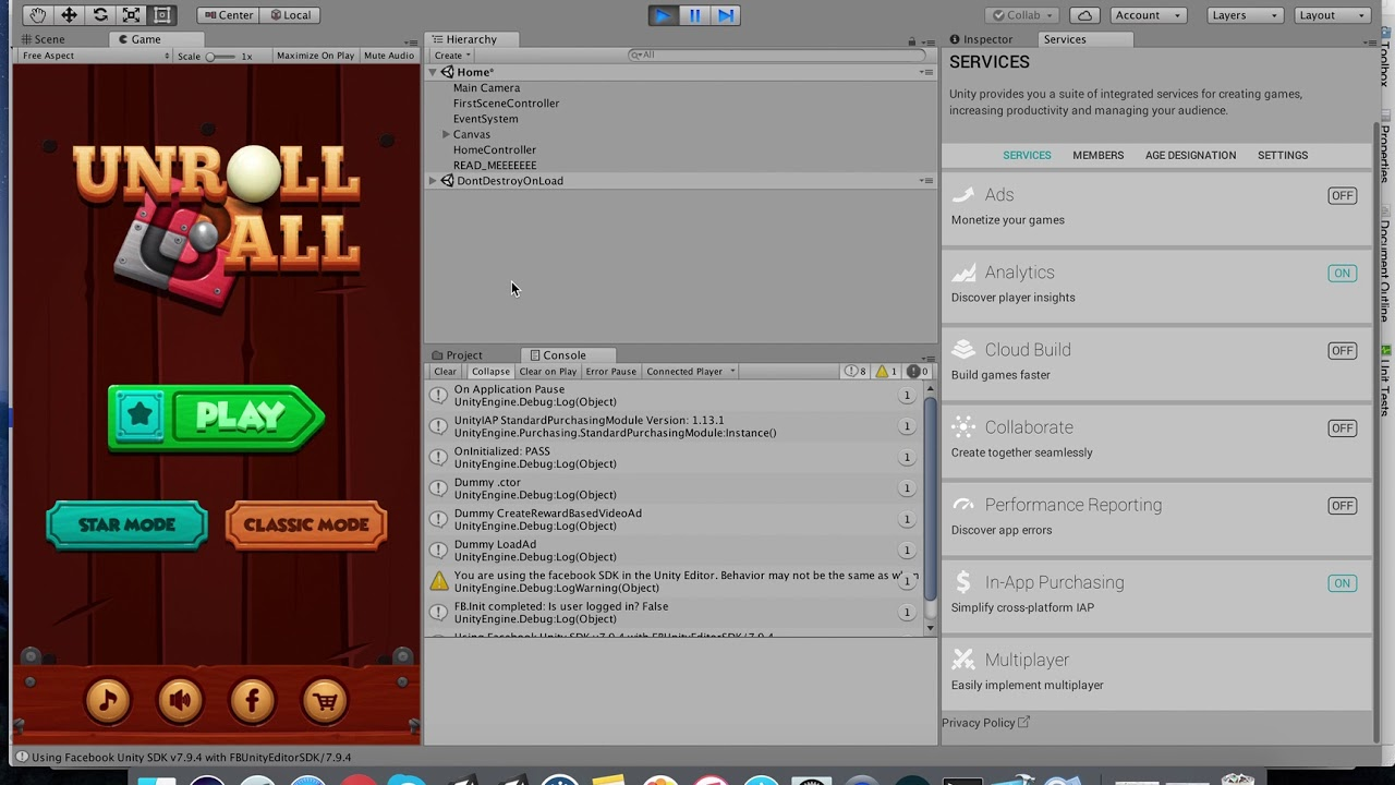 Unroll Ball Unity Source Code: Set up in-app purchase