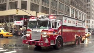 Fire Trucks and Engines Responding Compilation: FDNY + Rescue 1 with Air Horns, Q Sirens and Lights