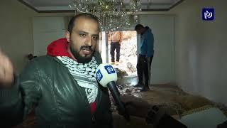 إخلاء بناية سكنية إثر انهيار جدار استنادي في عين الباشا (27.12.2019)