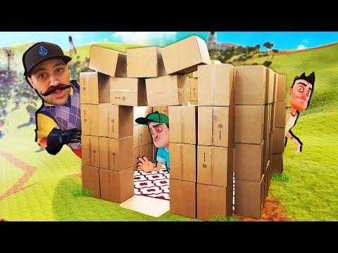 Amazing REAL LIFE Hello Neighbor BOX FORT Build!