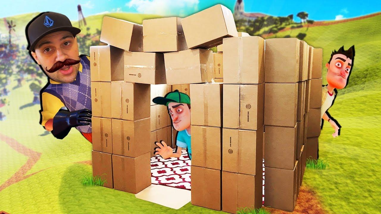 Amazing REAL LIFE Hello Neighbor BOX FORT Build! - YouTube