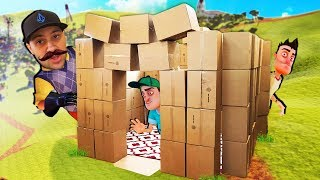 Amazing REAL LIFE Hello Neighbor BOX FORT Build!