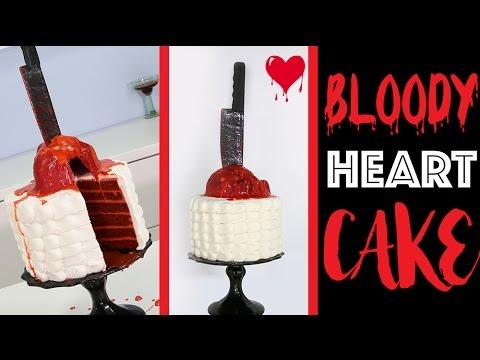 HALLOWEEN HEART CAKE | How to make a Bleeding Heart Red Velvet MURDER Cake