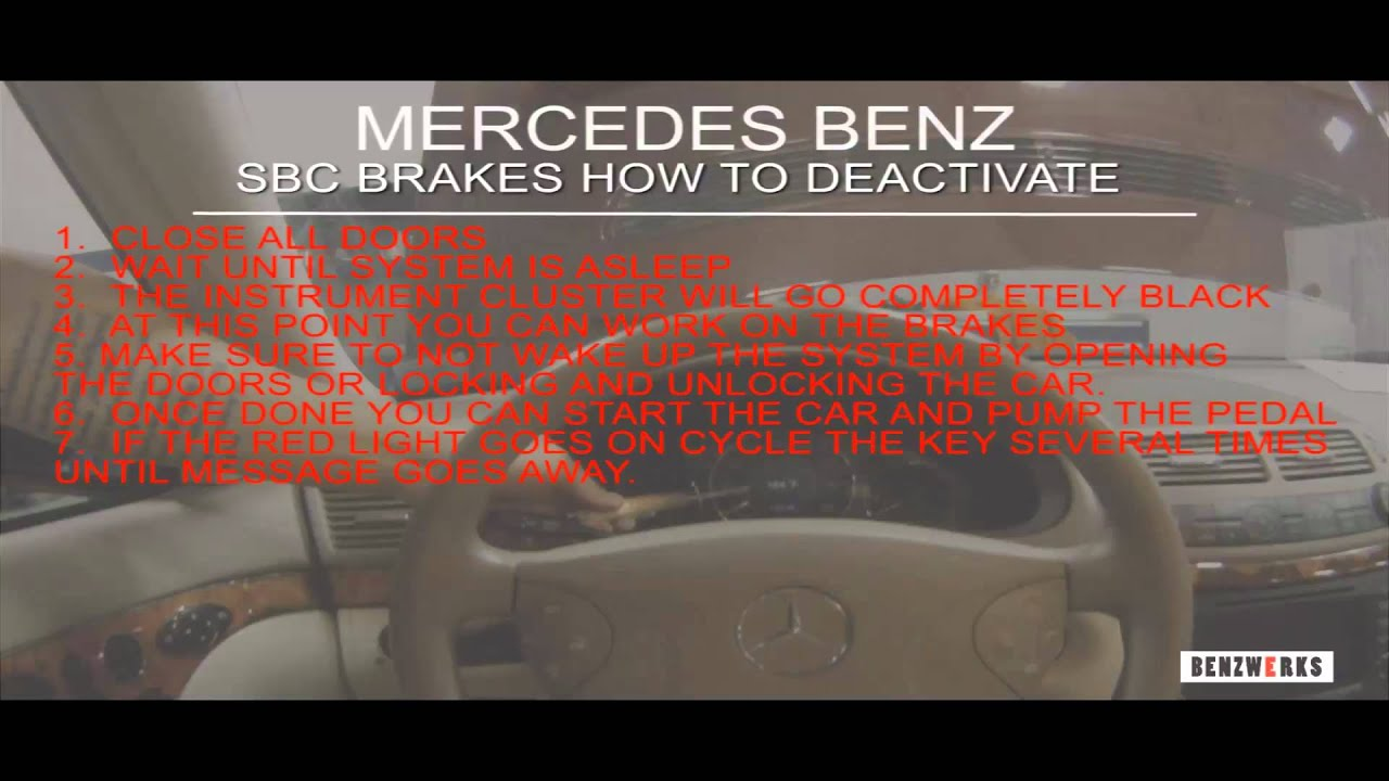 Benzwerks Sbc Brakes How To Deactivate Youtube