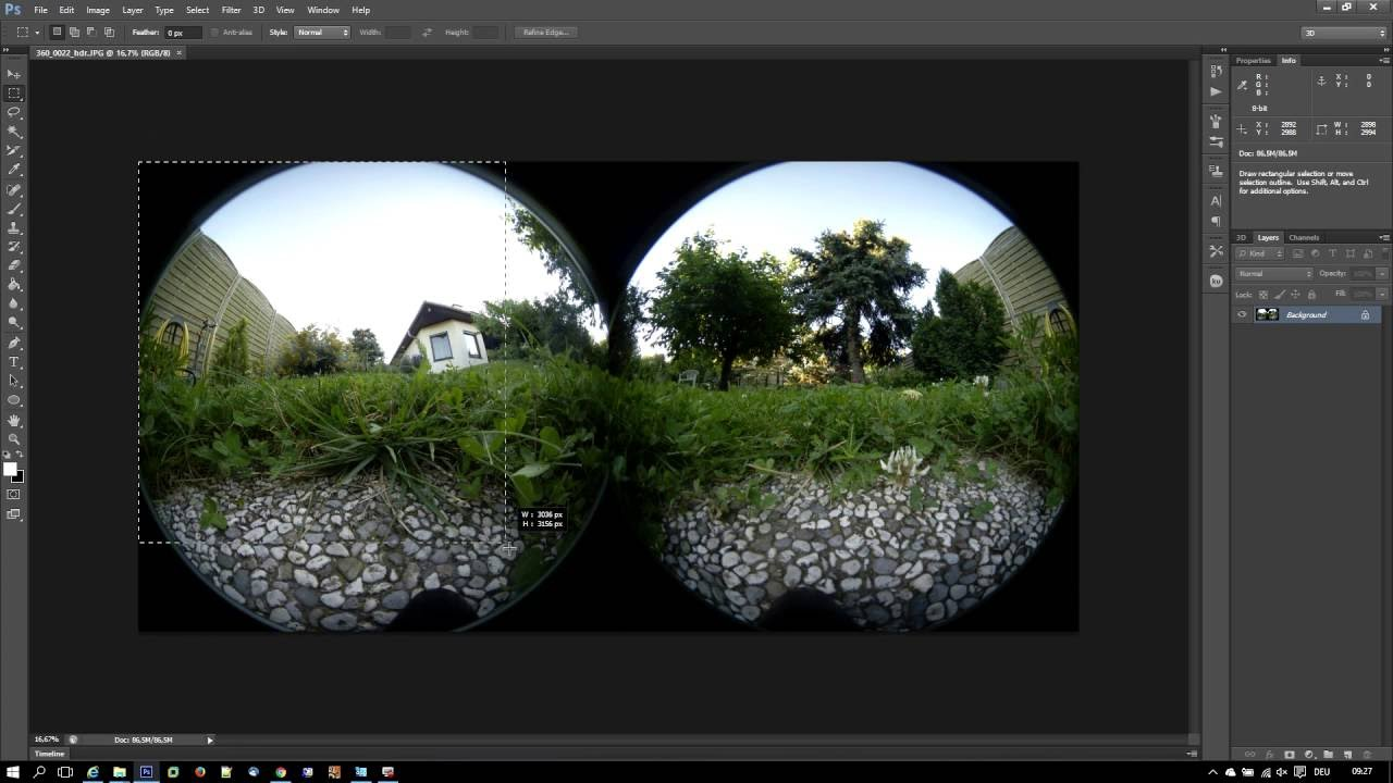 Howto manually stitch Samsung Gear 360 fisheye images