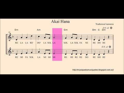 Akai Hana.  Partitura flauta, violín, oboe,... + audio  mejorado. SI melodía. C instruments.