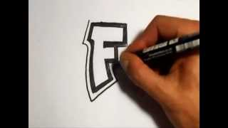 How to draw graffiti alphabet letters : F
