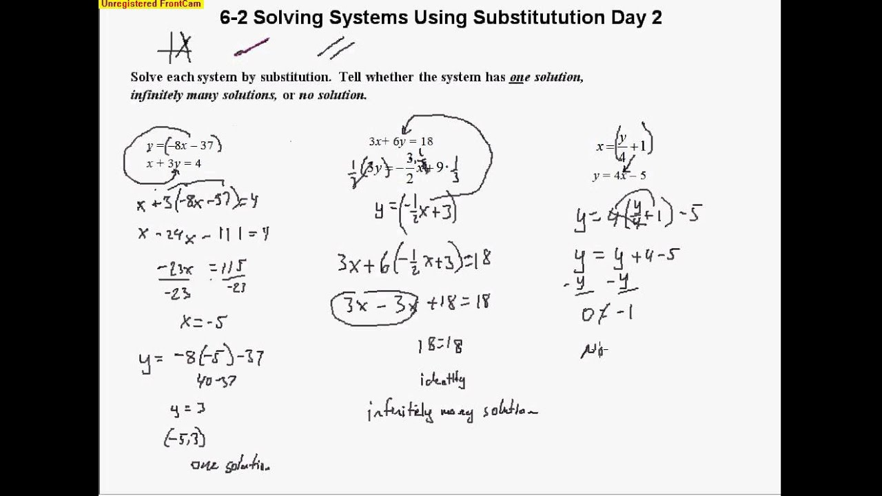 6 2 Solving Systems Using Substitution Day 2 Youtube