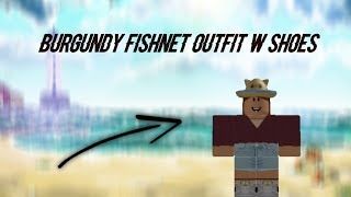 Burgundy fishnet outfit w shoes | Speed design | ROBLOX