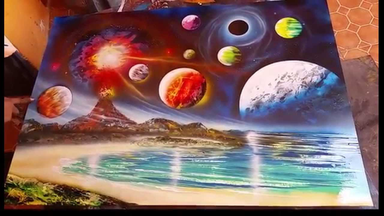 planets and volcano spray art youtube. Black Bedroom Furniture Sets. Home Design Ideas