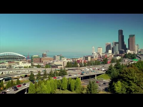 Driving through Seattle, WA on I-5 in 1080p