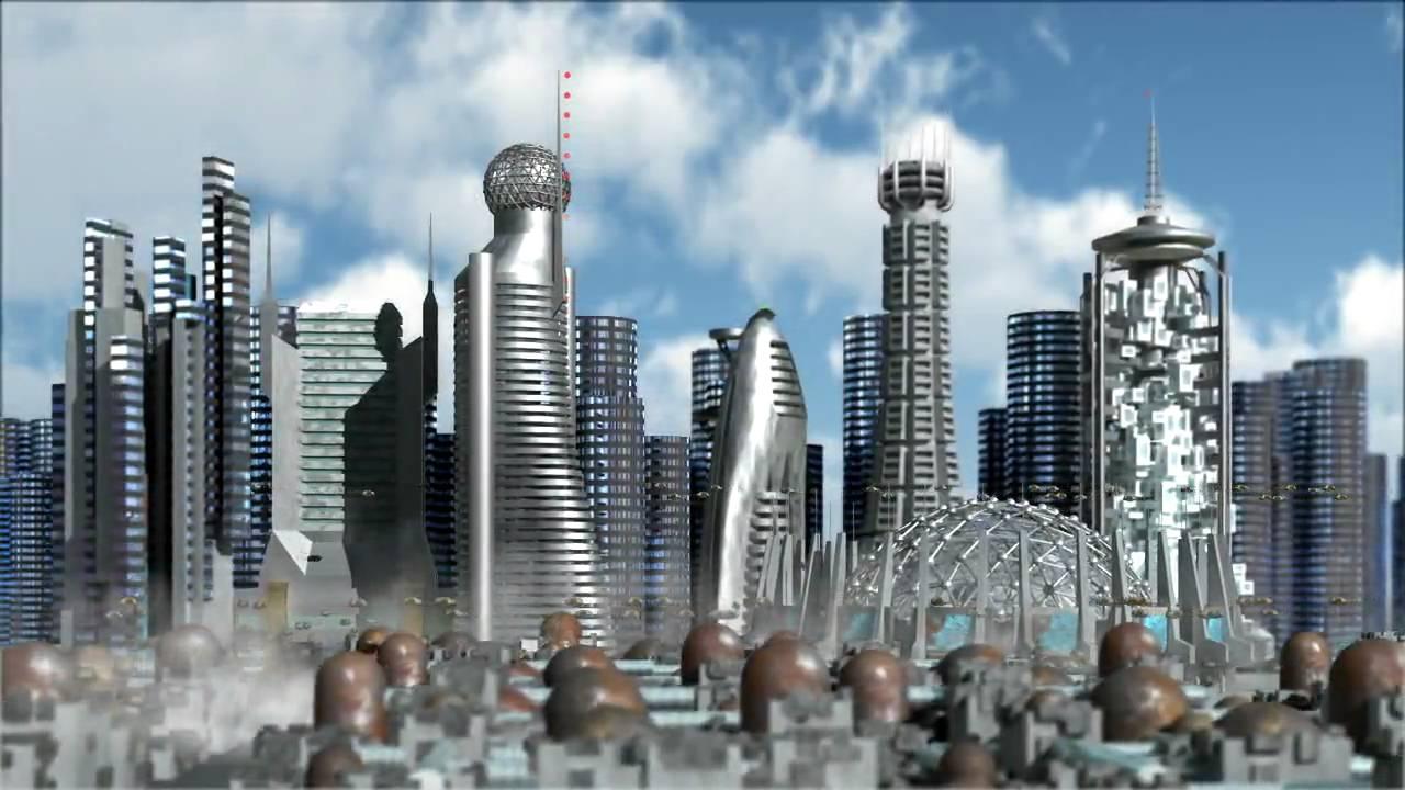 3D Sci-Fi City flight