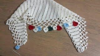 Şal Modeli Yapımı Part 2 & Tığ işi Örgü Kalpli Şal Modeli & Crochet