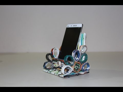 Recycled Paper Trick - How To Make mobile phone holder - diy useful ideas
