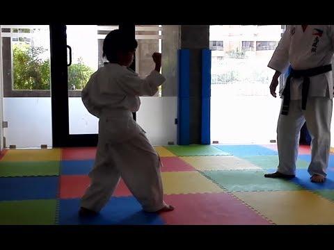 series of kids karate training basic kata