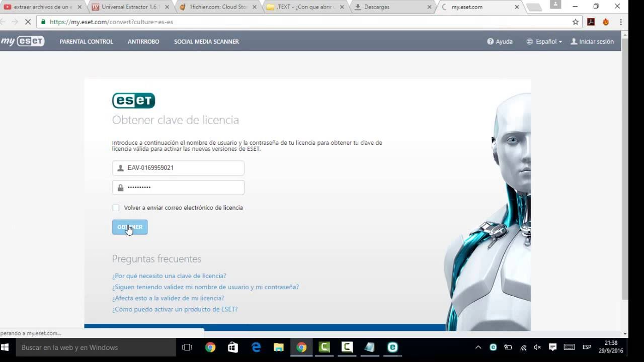 Licencias de eset nod 32 antivirus smart security 2016 de por vida