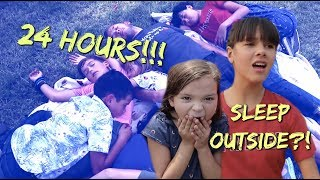 24 HOURS OUTSIDE! Sleeping on GRASS & finding food!