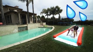 CRAZY SLIP N SLIDE SURFING! *IT WORKED*