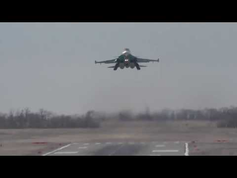 Landing aircraft of the southern military district on the highway in the Rostov region